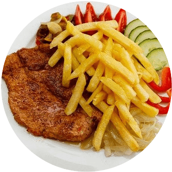 Air fried and roasted food